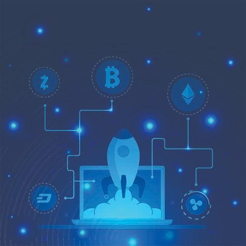 illustration de la crypto-monnaies aller sur le lune