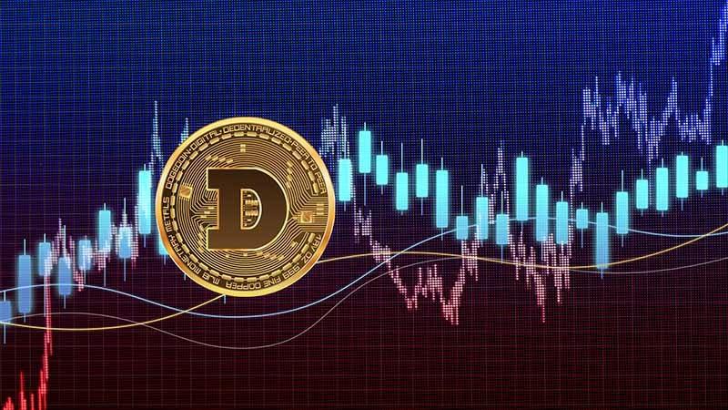 une pièce symbolisant la crypto-monnaie dogecoin avec un graphique en arrière-plan