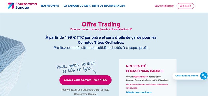 boursorama banque offre trading