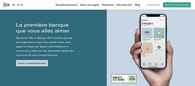 n26 capture de ecran website